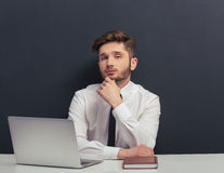 Handsome student with gadget Royalty Free Stock Photo