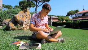 Handsome student with pc in park stock video