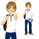 Handsome Student Teen. Handsome student boy making victory sign ready to go back to school Royalty Free Stock Photos