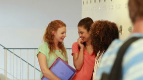 Handsome student walking past group of giggling girls Royalty Free Stock Photo