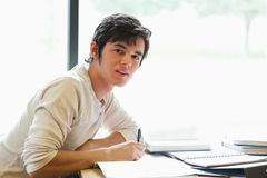 Handsome student writing a paper Stock Image