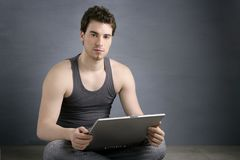 Handsome student young man sit working laptop Stock Photos