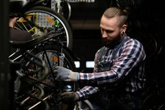 Handsome stylish male wearing a flannel shirt and jeans coverall, working with a bicycle wheel in a repair shop. A. A handsome stylish male wearing a flannel Royalty Free Stock Photography