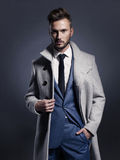 Handsome stylish man in autumn coat Stock Image