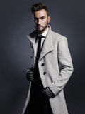 Handsome stylish man in autumn coat Royalty Free Stock Photo