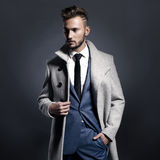 Handsome stylish man in autumn coat Royalty Free Stock Images