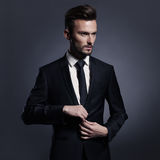 Handsome stylish man in black suit Stock Photos