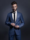 Handsome stylish man in blue suit Royalty Free Stock Photos