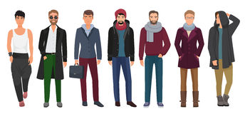 Handsome and stylish men set. Cartoon guys male characters in trendy fashion clothes. Vector illustration. Handsome and stylish men set. Cartoon guys male Stock Images