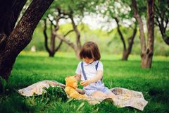 Handsome stylish 3 years old toddler child boy with funny face in suspenders enjoying sweets on picnic. In spring or summer garden or park and feeding his teddy Royalty Free Stock Images