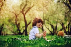 Handsome stylish 3 years old toddler child boy with funny face in suspenders enjoying sweets on picnic in spring. Or summer garden or park and feeding his teddy Royalty Free Stock Images