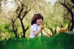 Handsome stylish 3 years old toddler child boy with funny face in suspenders enjoying sweets on picnic in spring. Or summer garden or park and feeding his teddy Royalty Free Stock Photo