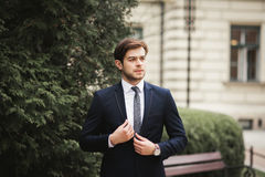 Handsome stylish young businessman posing portrait outdoor Stock Photo