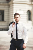 Handsome stylish young businessman posing portrait outdoor Royalty Free Stock Photos