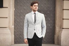 Handsome stylish young businessman posing portrait outdoor.  Stock Images