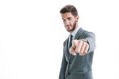 Handsome successful businessman pointing Stock Photo