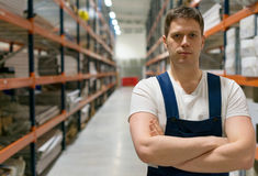 Handsome supervisor. Handsome supervisor with at the warehouse. Space for text Royalty Free Stock Photo