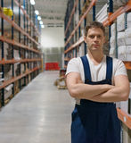 Handsome supervisor. Handsome supervisor with at the warehouse. Space for text Stock Photos