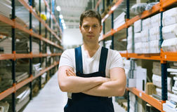 Handsome supervisor. Handsome supervisor with at the warehouse. Space for text Stock Images