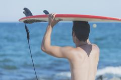 Handsome surfer holding surfboard on head from rear. Handsome surfer holding surfboard on head Stock Images
