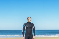 Handsome Swimmer ready to start swimming Stock Photography