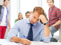 Handsome teacher writing in notebook Royalty Free Stock Photos