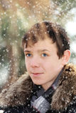 Handsome teen boy. Outdoors portrait of the handsome smiling teenager Stock Photos