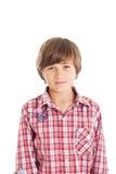 Handsome teen boy. Portrait of cute teen boy wearing a plaid shirt Stock Image