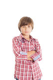 Handsome teen boy. Cute teen boy wearing a plaid shirt. The boy crossed his arms over his chest Royalty Free Stock Images