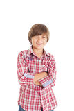 Handsome teen boy. Cute teen boy wearing a plaid shirt. The boy crossed his arms over his chest Royalty Free Stock Photography