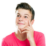 Handsome teen looking at corner isolated. Close up portrait of Handsome teen boy looking at corner isolated Stock Image