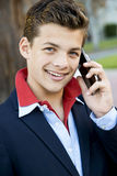 Handsome teen with phone Stock Photography