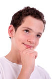 Handsome teen, thinking Stock Images