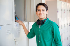 Handsome teenage boy at school Royalty Free Stock Images
