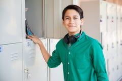 Handsome teenage boy at school