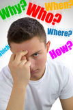Handsome teenager asking himself Why? Who? Where? How? What? Whi Royalty Free Stock Photography