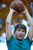Handsome Teenager with Basketball Royalty Free Stock Images
