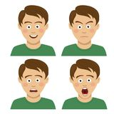 Handsome teenager boy having various expressions. On white Royalty Free Stock Images