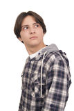 Handsome teenager looking back amazed Stock Photography