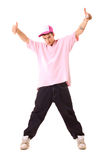 Handsome teenager put hands up Royalty Free Stock Photography