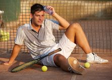 Handsome tennis player Stock Image