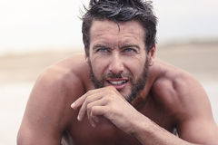 Handsome Thoughtful Athletic Man with No Shirt. Close up Handsome Thoughtful Athletic Man with No Shirt Royalty Free Stock Photos