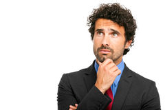 Handsome thoughtful manager isolated on white Royalty Free Stock Photography