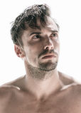 Handsome thoughtful young man. Handsome thoughtful unshaven shirtless young man with a goatee beard standing looking upwards with a frown and a serious Stock Photos