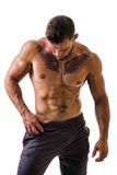 Handsome topless muscular man standing, isolated Royalty Free Stock Photography