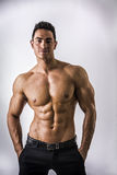 Handsome topless muscular man standing. Handsome shirtless muscular man with elegant pants, standing, on light background Royalty Free Stock Photos
