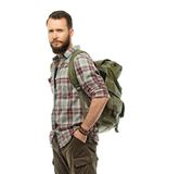 Handsome traveler with backpack Royalty Free Stock Photo