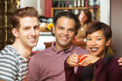 Handsome Trio in Bistro Royalty Free Stock Image