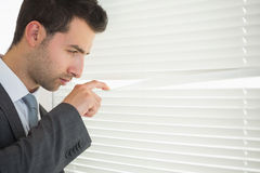 Handsome unsmiling businessman spying through roller blind Royalty Free Stock Photography
