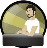 Handsome Urban Male. 3/4 Profile of a white or Latino male with space for slogan or tagline stock illustration